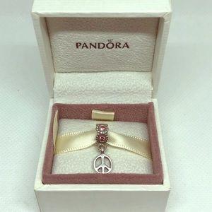 Pandora sterling silver pink CZ peace ☮️ charm